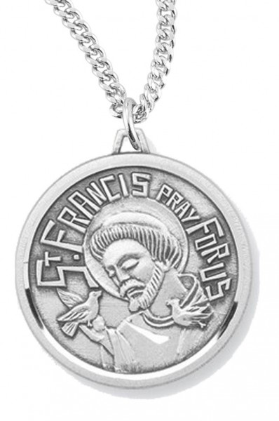 "Women's St. Francis Necklace, Sterling Silver with Chain Options - 20"" 1.8mm Sterling Silver Chain + Clasp"