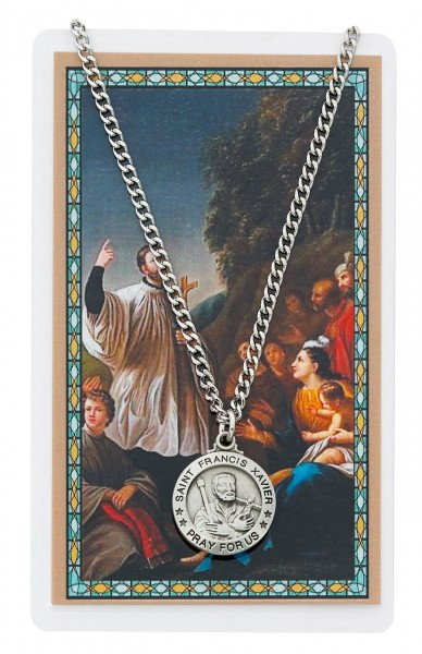 St. Francis Xavier Medal and Prayer Card Set - Silver-tone
