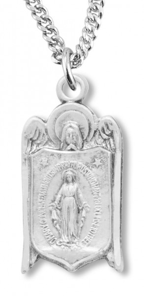 "Women's Sterling Silver Saint Gabriel Miraculous Necklace with Chain Options - 20"" 2.25mm Rhodium Plated Chain with Clasp"