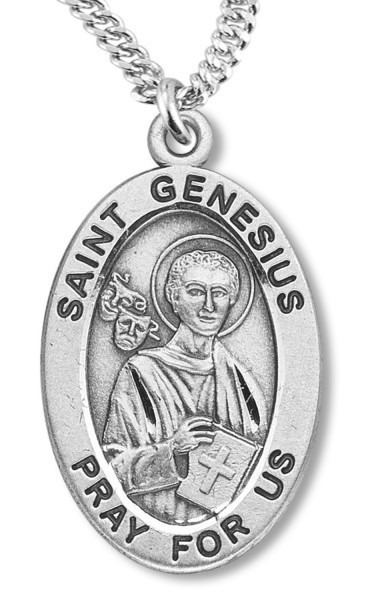 "St. Genesius Medal Sterling Silver - 20"" 2.25mm Rhodium Plated Chain with Clasp"
