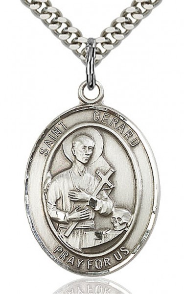 "St. Gerard Majella Medal, Sterling Silver, Large - 24"" 2.4mm Rhodium Plate Endless Chain"