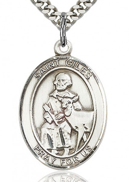"St. Giles Medal, Sterling Silver, Large - 24"" 2.4mm Rhodium Plate Endless Chain"