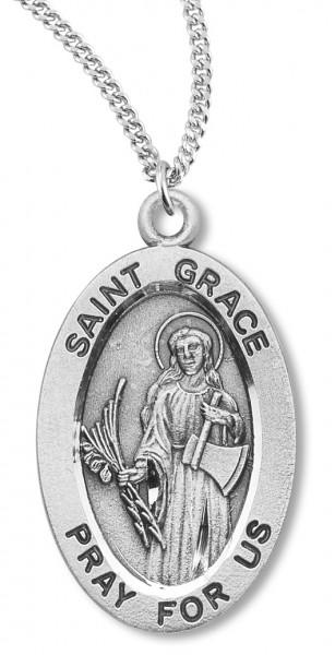Sterling Silver Rhodium-plated Spainsh St Gabriel Medal Pendant