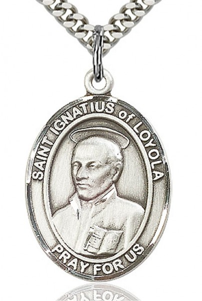 "St. Ignatius of Loyola Medal, Sterling Silver, Large - 24"" 2.4mm Rhodium Plate Endless Chain"