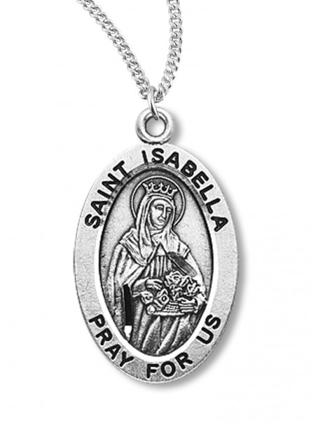 "Women's St. Isabella Necklace Oval Sterling Silver with Chain Options - 18"" 1.8mm Sterling Silver Chain + Clasp"
