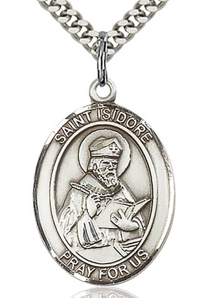 "St. Isidore of Seville Medal, Sterling Silver, Large - 24"" 2.2mm Sterling Silver Chain + Clasp"