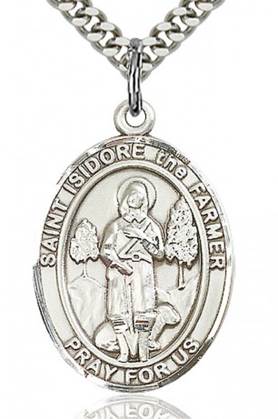 "St. Isidore the Farmer Medal, Sterling Silver, Large - 24"" Sterling Silver Chain + Clasp"