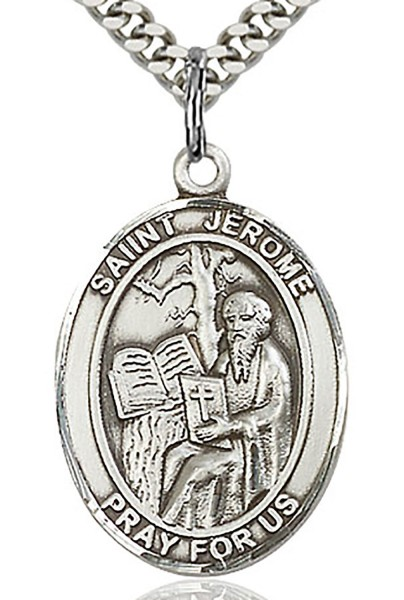 "St. Jerome Medal, Sterling Silver, Large - 24"" 2.4mm Rhodium Plate Endless Chain"