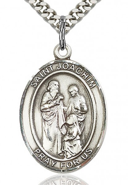 "St. Joachim Medal, Sterling Silver, Large - 24"" Sterling Silver Chain + Clasp"