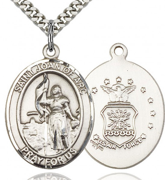 "St. Joan of Arc Air Force Medal, Sterling Silver, Large - 24"" 2.4mm Rhodium Plate Endless Chain"