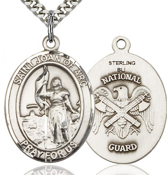 "St. Joan of Arc National Guard Medal, Sterling Silver, Large - 24"" 2.4mm Rhodium Plate Chain + Clasp"