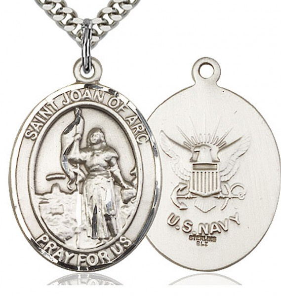 "St. Joan of Arc Navy Medal, Sterling Silver, Large - 24"" 1.7mm Sterling Silver Chain & Clasp"