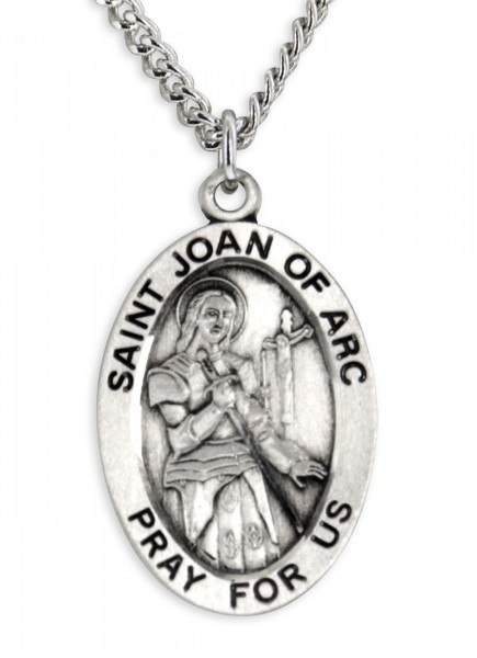 Mens st joan of arc necklace oval sterling silver with chain options mens st joan of arc necklace oval sterling silver with chain options 24quot aloadofball Gallery