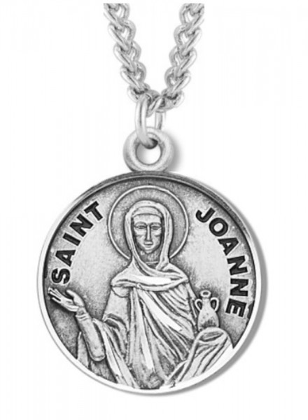 "Women's St. Joanne Necklace Round Sterling Silver with Chain Options - 20"" 2.25mm Rhodium Plated Chain with Clasp"