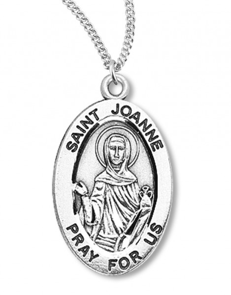 "Women's St. Joanne Necklace Oval Sterling Silver with Chain Options - 20"" 2.25mm Rhodium Plated Chain with Clasp"