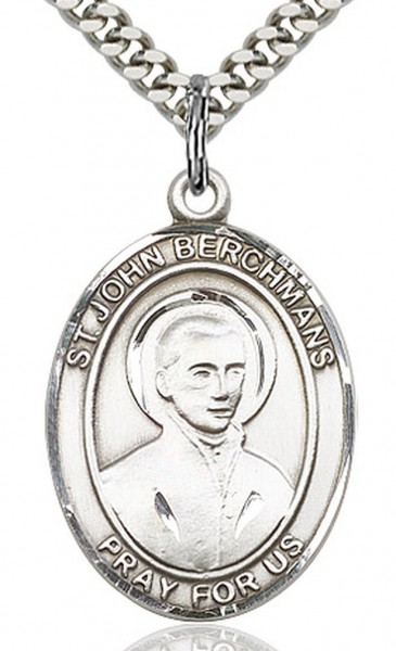 "St. John Berchmans Medal, Sterling Silver, Large - 24"" Sterling Silver Chain + Clasp"