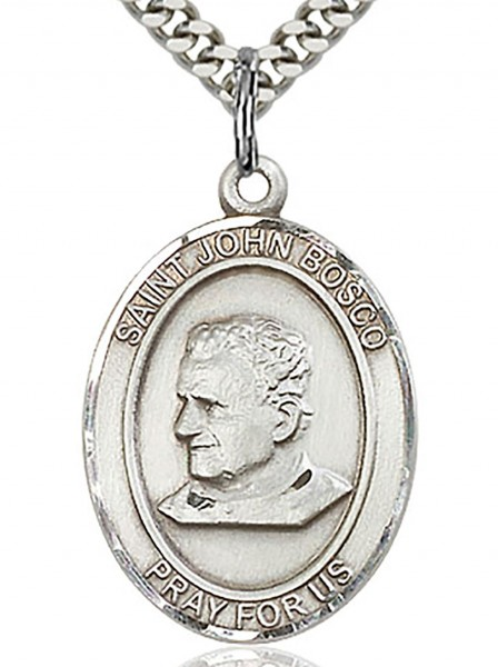 "St. John Bosco Medal, Sterling Silver, Large - 24"" 1.7mm Sterling Silver Chain & Clasp"
