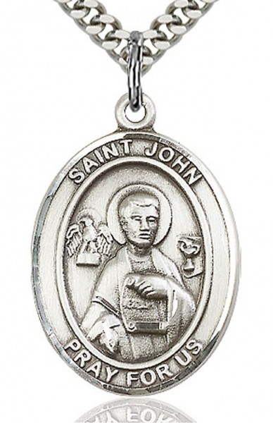 "St. John the Apostle Medal, Sterling Silver, Large - 24"" 1.7mm Sterling Silver Chain & Clasp"