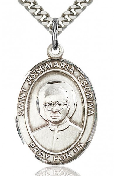 "St. Josemaria Escriva Medal, Sterling Silver, Large - 24"" 2.4mm Rhodium Plate Endless Chain"