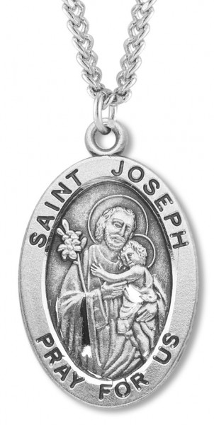 "Men's St. Joseph Necklace Oval Sterling Silver with Chain Options - 24"" 2.4mm Rhodium Plate Chain + Clasp"