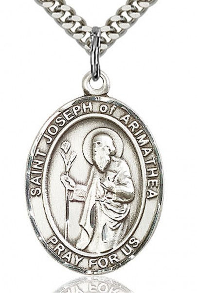 "St. Joseph of Arimathea Medal, Sterling Silver, Large - 24"" 2.4mm Rhodium Plate Chain + Clasp"