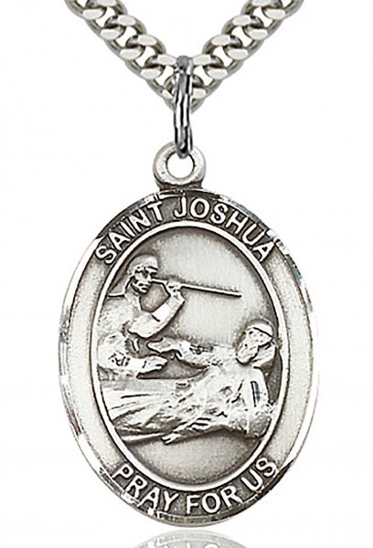 "St. Joshua Medal, Sterling Silver, Large - 24"" 2.4mm Rhodium Plate Chain + Clasp"