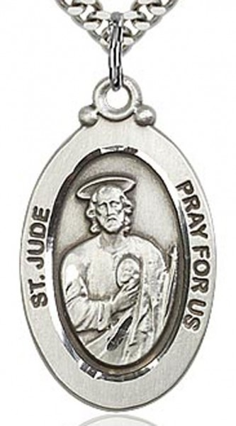 "St. Jude Medal, Sterling Silver - 24"" 2.4mm Rhodium Plate Chain + Clasp"