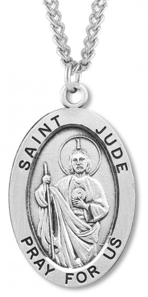 "Men's St. Jude Necklace Oval Sterling Silver with Chain Options - 24"" Rhodium Plate Endless Chain"