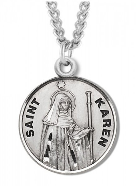 "Women's St. Karen Necklace Round Sterling Silver with Chain Options - 20"" 1.8mm Sterling Silver Chain + Clasp"