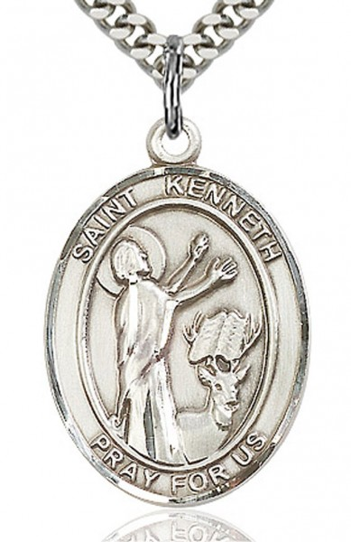 "St. Kenneth Medal, Sterling Silver, Large - 24"" 2.4mm Rhodium Plate Endless Chain"