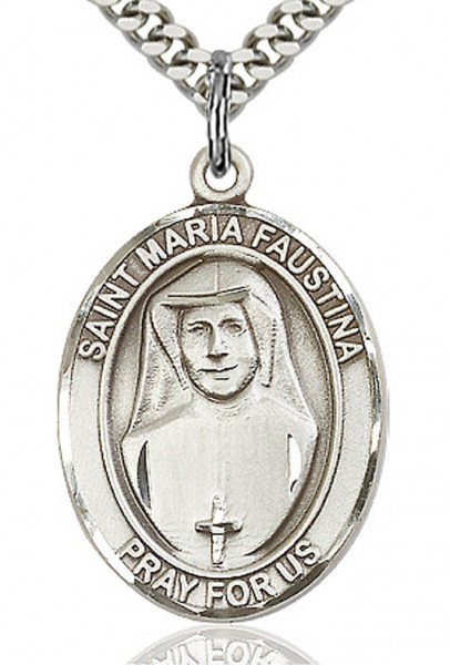 "St. Maria Faustina Medal, Sterling Silver, Large - 24"" 2.4mm Rhodium Plate Endless Chain"