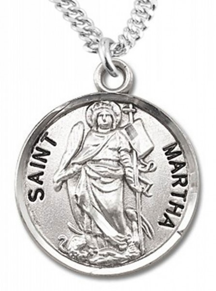 "Women's St. Martha Necklace Round Sterling Silver with Chain Options - 20"" 1.8mm Sterling Silver Chain + Clasp"