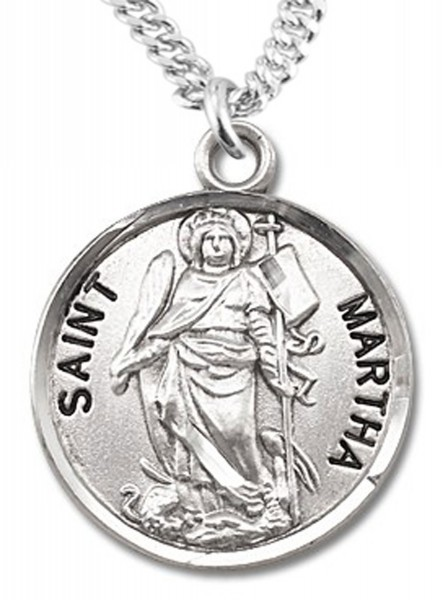 "Women's St. Martha Necklace Round Sterling Silver with Chain Options - 18"" 2.1mm Rhodium Plate Chain + Clasp"