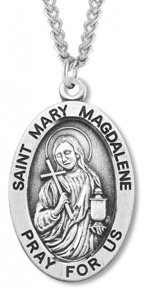 "Men's St. Mary Magdalene Necklace Oval Sterling Silver with Chain Options - 20"" 2.25mm Rhodium Plated Chain with Clasp"
