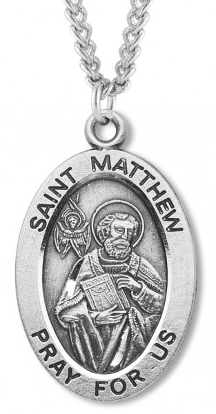 "Men's St. Matthew Necklace Oval Sterling Silver with Chain Options - 20"" 2.25mm Rhodium Plated Chain with Clasp"