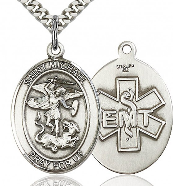 "St. Michael EMT Medal, Sterling Silver, Large - 24"" 2.4mm Rhodium Plate Chain + Clasp"