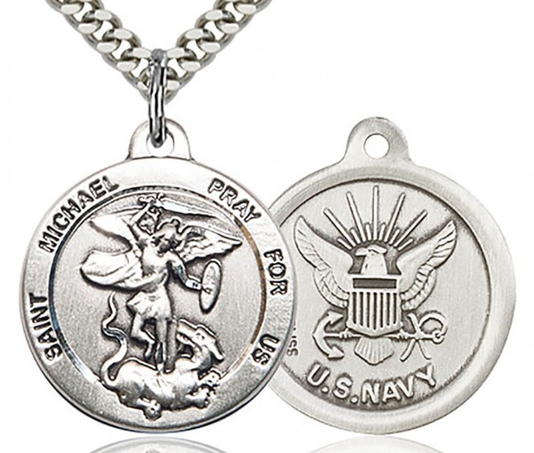 "St. Michael Navy Medal, Sterling Silver - 24"" 2.4mm Rhodium Plate Chain + Clasp"