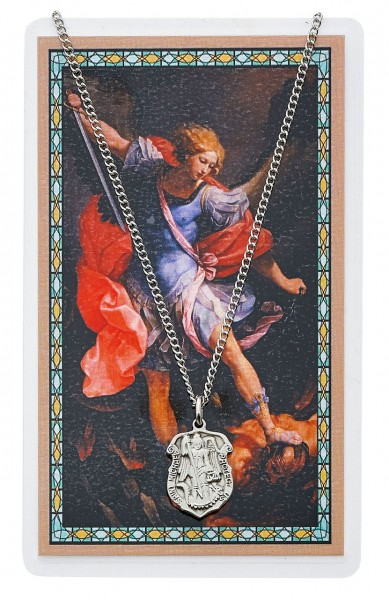 St. Michael Prayer Shield Pendant and Police Officer Prayer Card Set - Silver-tone