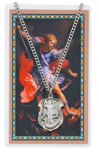 St. Michael Shield Pendant with Police Officer Prayer Card Set, Large - Silver-tone