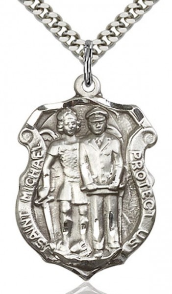 "St. Michael the Archangel Medal, Sterling Silver - 24"" 1.7mm Sterling Silver Chain & Clasp"