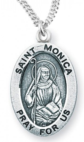 "Women's St. Monica Necklace Oval Sterling Silver with Chain Options - 18"" 2.1mm Rhodium Plate Chain + Clasp"