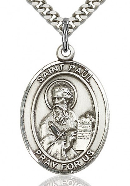 "St. Paul the Apostle Medal, Sterling Silver, Large - 24"" 2.4mm Rhodium Plate Endless Chain"