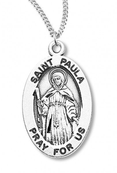 "Women's St. Paula Necklace Oval Sterling Silver with Chain Options - 20"" 2.25mm Rhodium Plated Chain with Clasp"