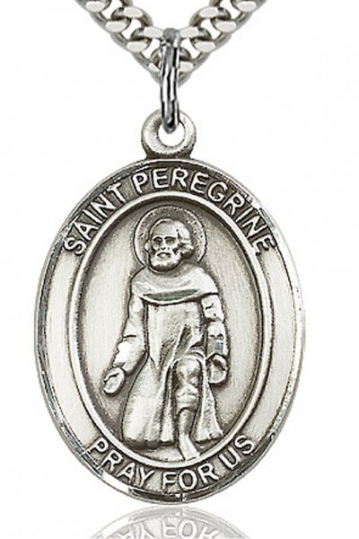 "St. Peregrine Laziosi Medal, Sterling Silver, Large - 24"" 2.4mm Rhodium Plate Chain + Clasp"