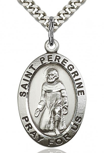 "St. Peregrine Medal, Sterling Silver - 24"" 2.4mm Rhodium Plate Chain + Clasp"