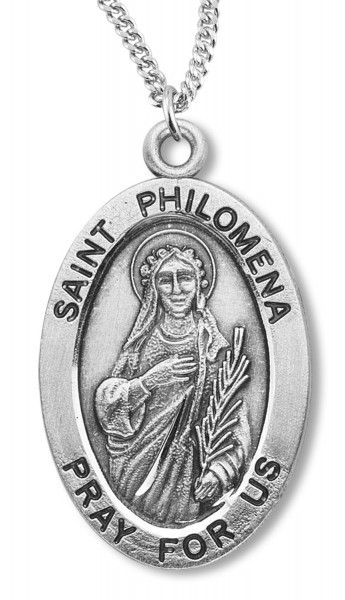 "Women's St. Philomena Necklace Oval Sterling Silver with Chain Options - 20"" 2.25mm Rhodium Plated Chain with Clasp"