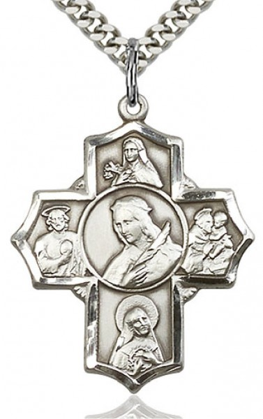 "St. Philomena, St. Theresa, St. Rita, St. Anthony, St. Jude Medal, Sterling Silver - 24"" 2.4mm Rhodium Plate Chain + Clasp"