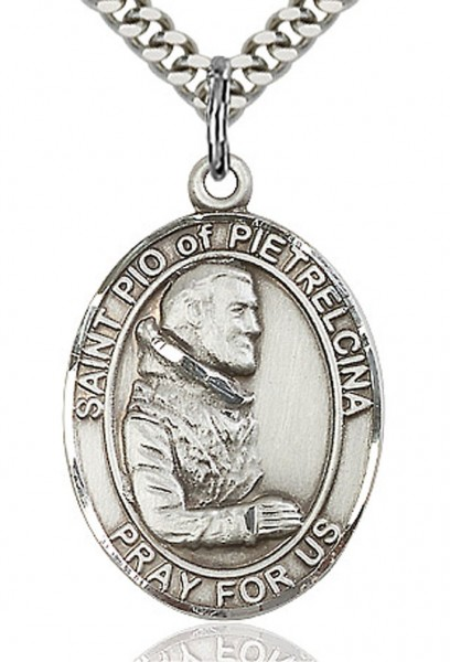 "St. Pio of Pietrelcina Medal, Sterling Silver, Large - 24"" 2.4mm Rhodium Plate Chain + Clasp"