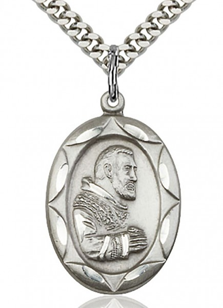 "St. Pio of Pietrelcina Medal, Sterling Silver - 24"" 2.4mm Rhodium Plate Chain + Clasp"