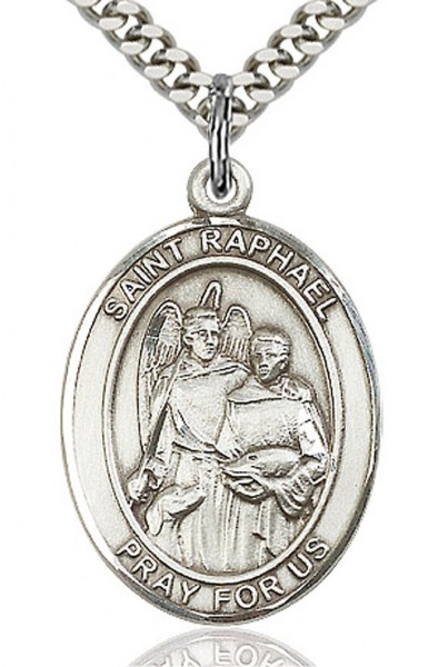 "St. Raphael the Archangel Medal, Sterling Silver, Large - 24"" 1.7mm Sterling Silver Chain & Clasp"